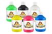 Peinture acrylique - couleurs assorties : jaune primaire, rouge primaire, bleu clair (cyan primaire), vert clair, noir et blanc - Set de 6 flacon de 500 ml - Acryliques scolaire - 10doigts.fr