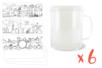 Mugs à décorer - Lot de 6 - Transparent 12671 - 10doigts.fr