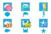 Set de 6 pochoirs + tracettes thème Océan - Gabarits, tracettes 38200 - 10doigts.fr