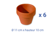 Pots en terre cuite - Ø 11 cm x H 10 cm - 6 pcs - Supports en Céramique et Porcelaine 04044 - 10doigts.fr