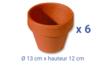 Pots en terre cuite - Ø 13 cm x H 12 cm - 6 pcs - Céramique et Porcelaine 04045 - 10doigts.fr