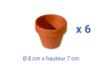 Pots en terre cuite Ø 8 cm - Hauteur 7 cm  - 6 pots - Supports en Céramique et Porcelaine - 10doigts.fr
