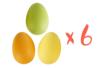 Grands oeufs en plastique coloré - 6 x 4,5 cm - Lot de 6 - Oeufs 16315 - 10doigts.fr