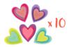 Stickers coeurs feutrine - Set de 10 - Stickers en feutrine - 10doigts.fr