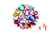 Strass assortis multicolores – 4 sets (800 strass) - Strass 13341 - 10doigts.fr