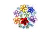 Strass fleurs multicolores – 1 set (200 strass) - Strass 13346 - 10doigts.fr