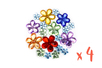 Strass fleurs multicolores – 4 sets (800 strass) - Strass 13347 - 10doigts.fr