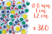 Yeux mobiles à pupille colorée : 184 x Ø 8 mm - 96 x Ø 1 cm et 80 x Ø 1,2 cm - 360 yeux - Yeux mobiles 10739 - 10doigts.fr