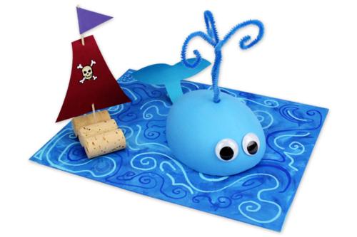 Tableau 3D : Baleine et bateau pirate
